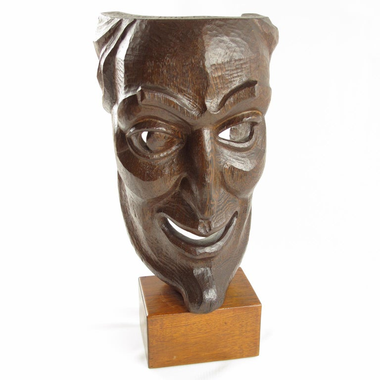 Mid-Century Modern Tall Hand Carved Palm Wood Grotesque Mask Sculpture Signed and Dated For Sale