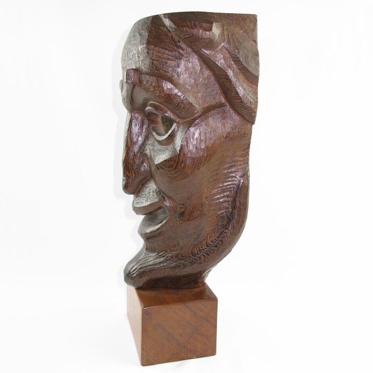 German Tall Hand Carved Palm Wood Grotesque Mask Sculpture Signed and Dated For Sale