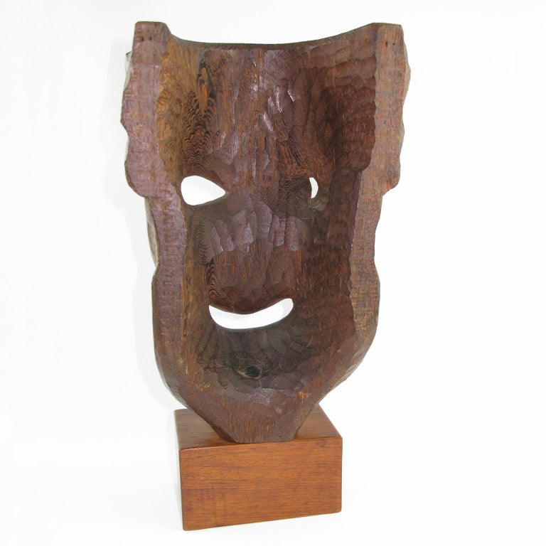 Tall Hand Carved Palm Wood Grotesque Mask Sculpture Signed and Dated In Excellent Condition For Sale In Atlanta, GA