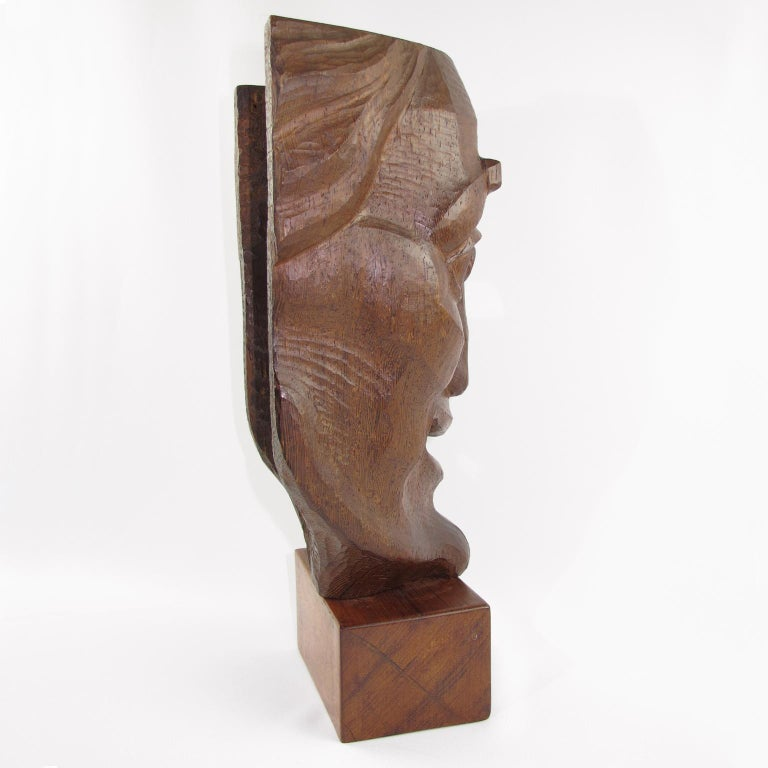 Mid-20th Century Tall Hand Carved Palm Wood Grotesque Mask Sculpture Signed and Dated For Sale