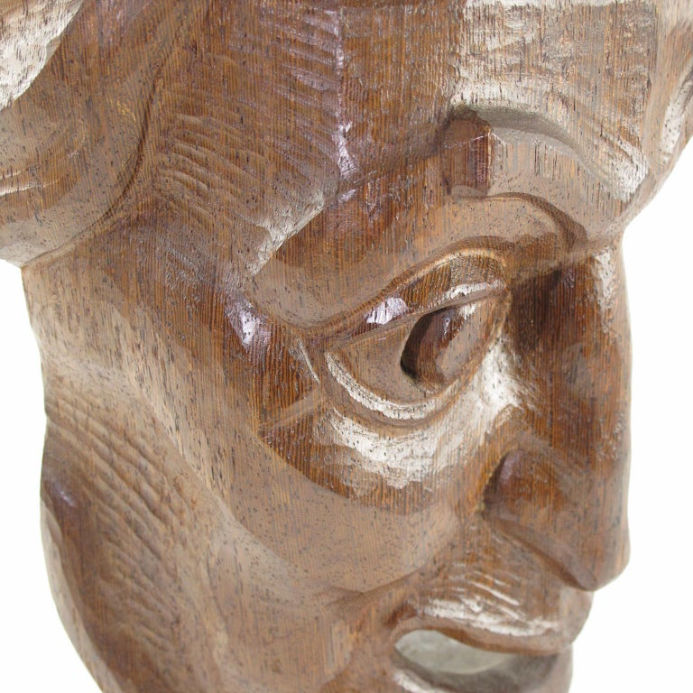 Tall Hand Carved Palm Wood Grotesque Mask Sculpture Signed and Dated For Sale 2
