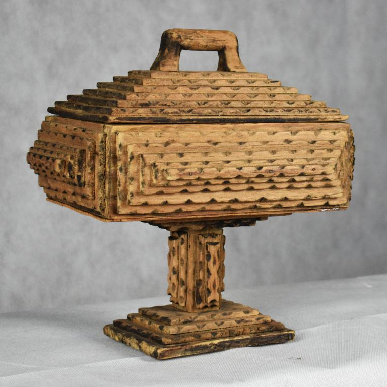Folk Art Tall Hand Carved Wood Tramp Art Keepsake Box with Lid on Stand For Sale
