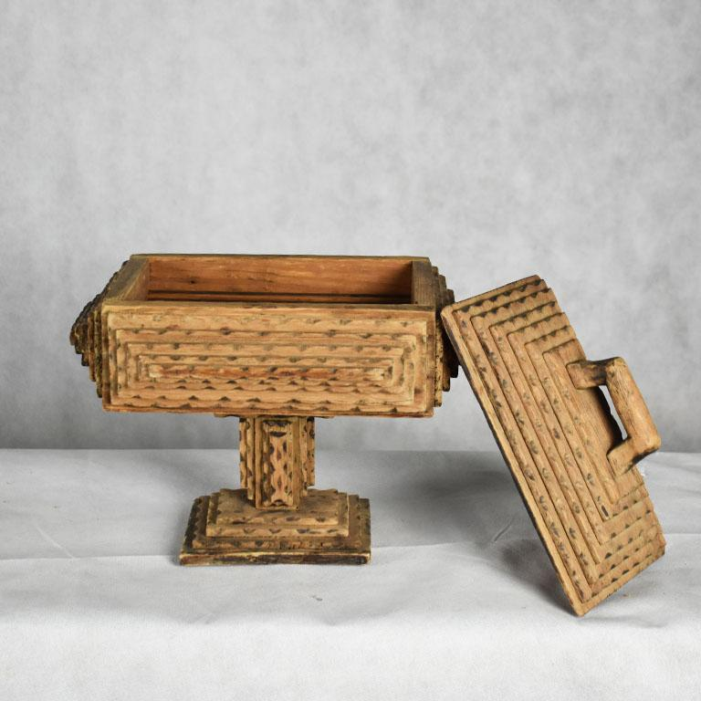 Tall Hand Carved Wood Tramp Art Keepsake Box with Lid on Stand In Good Condition For Sale In Oklahoma City, OK
