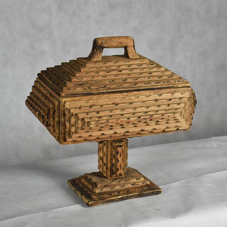 19th Century Tall Hand Carved Wood Tramp Art Keepsake Box with Lid on Stand For Sale