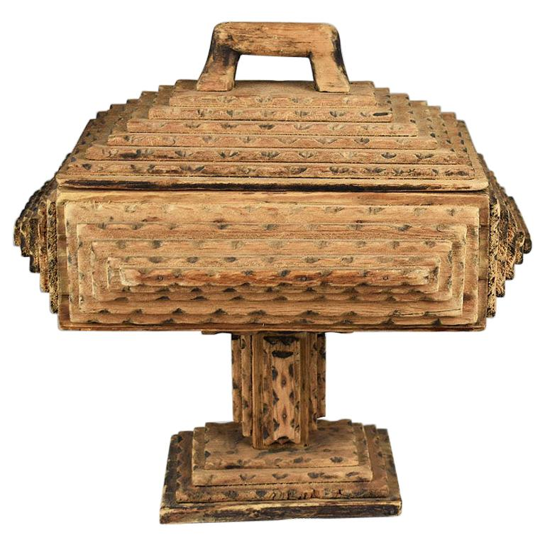 Tall Hand Carved Wood Tramp Art Keepsake Box with Lid on Stand For Sale