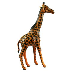 Tall Hand Made Leather Giraffe