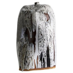 Tall Handmade Dripped Contemporary Ceramic Vase / Large Interior Sculpture