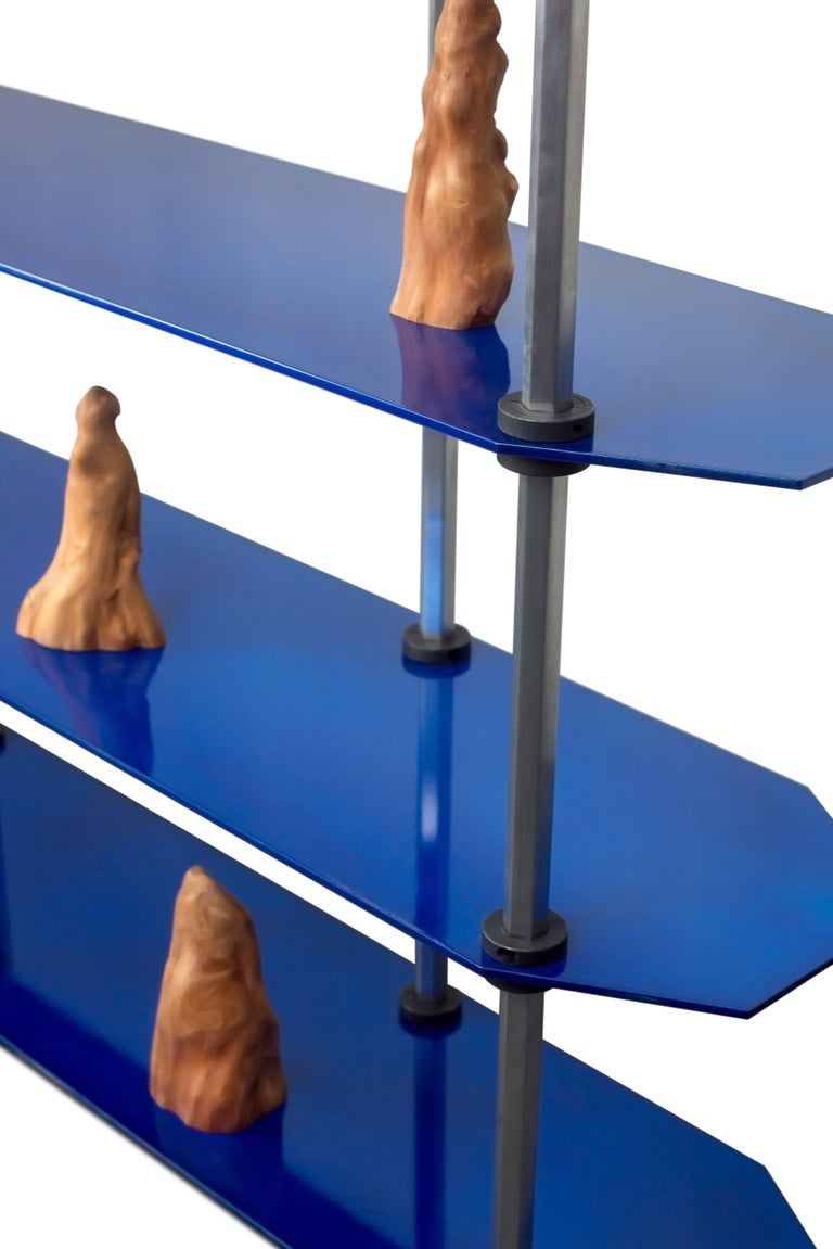 Other Tall Hex Shelving in Candied Metallic Blue, Modular Knock Down Aluminium For Sale