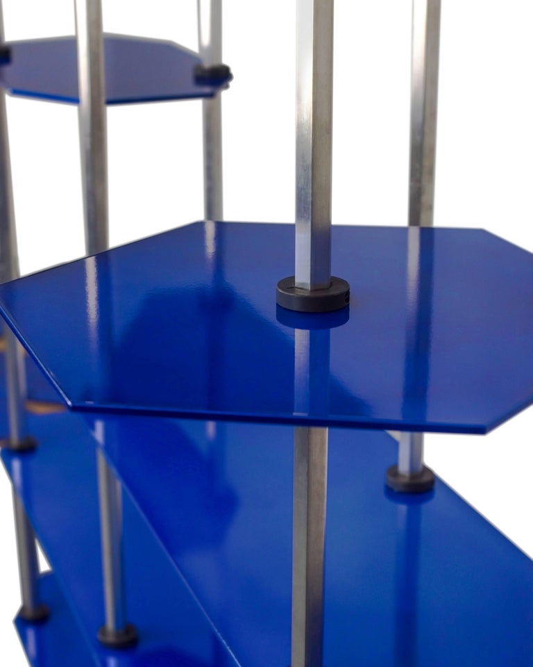 American Tall Hex Shelving in Candied Metallic Blue, Modular Knock Down Aluminium For Sale