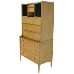 Tall Highboy Light Walnut Multi-Drawer Cabinet Sliding Leather Doors Brass Pulls