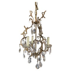 Tall Hollywood Regency Crystal and Brass Chandelier w/ Three Lights