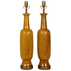 Tall Honey Glazed Ceramic Cylindrical Lamps w/ Geometric Texture 'Pair'