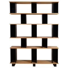 Tall 'Horizontale' Black Steel and Oak Shelving Unit by Design Frères