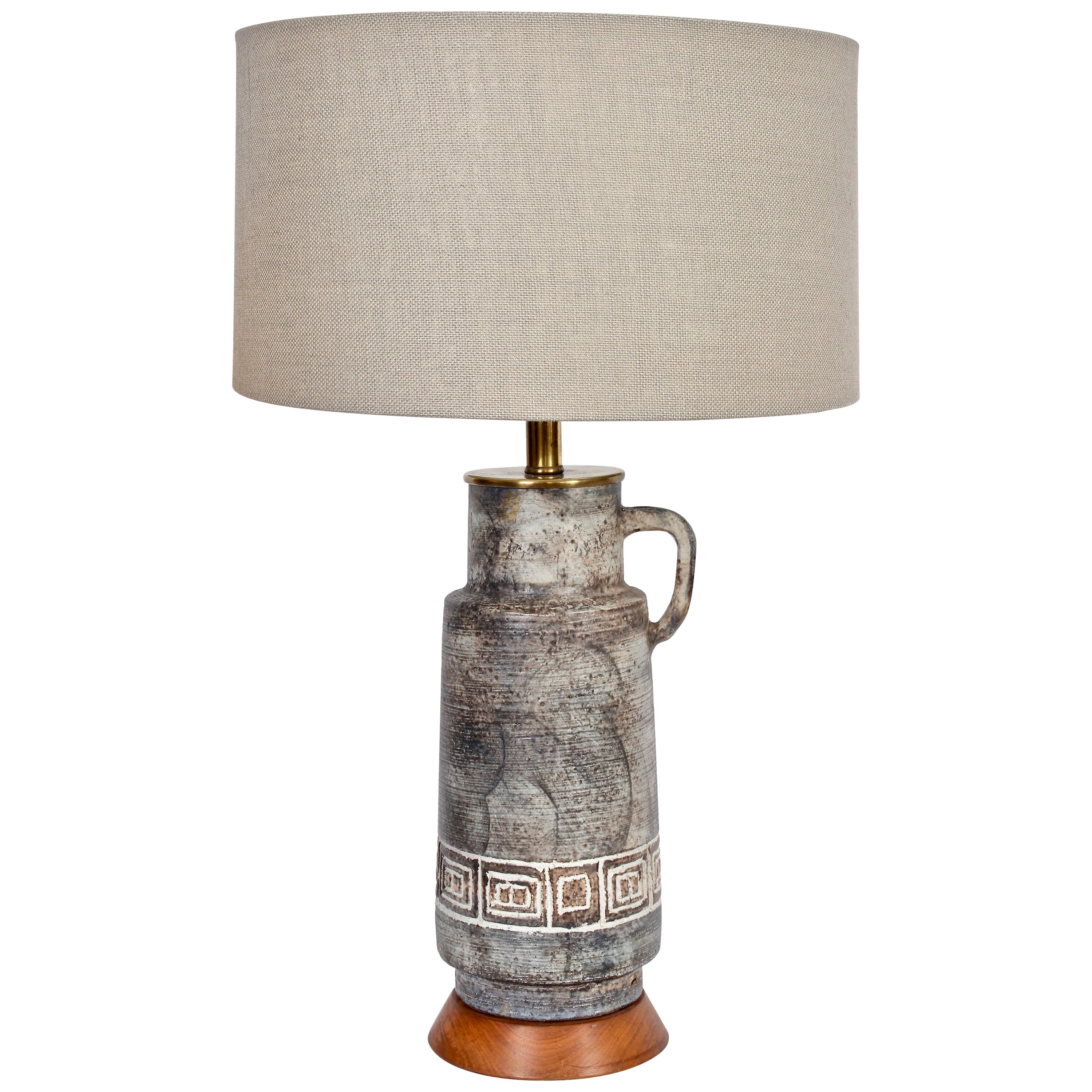 Tall Incised Ceramic Handled Pitcher Table Lamp, 1950s