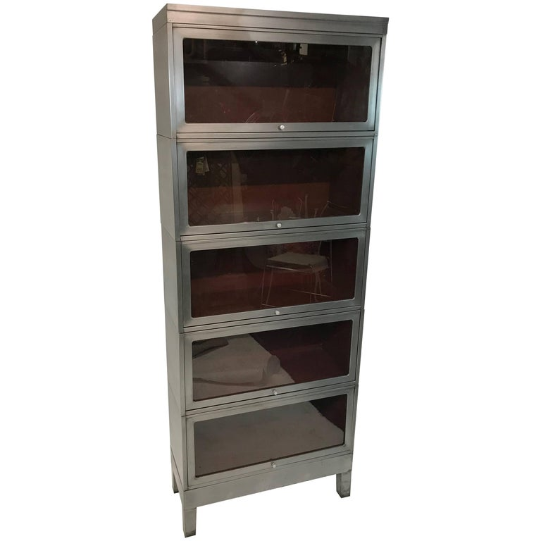 Steel Barrister Bookcase: Tall Industrial Mid Century Six Stack Brushed Steel