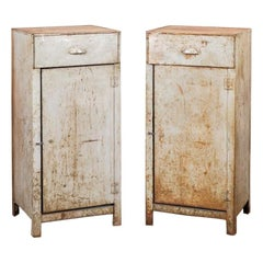 Tall Industrial Style Metal Bedside Cabinets, circa 1950s