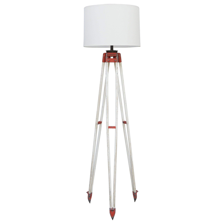 Tall Industrial Surveyor Tripod Floor Lamp