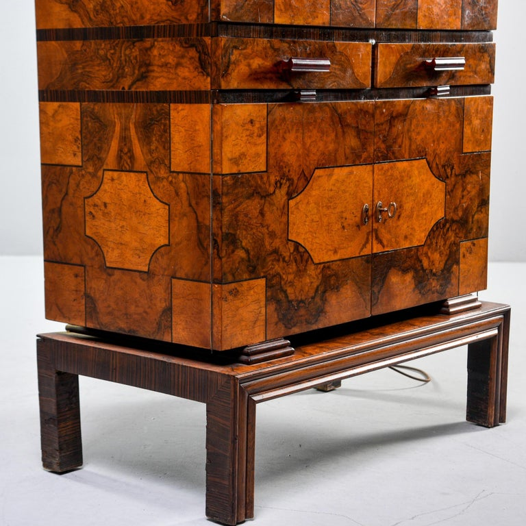 Tall Italian Art Deco Bar Cabinet with Marquetry and Mirrored Interior For Sale 9