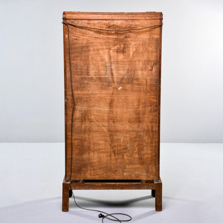 Metal Tall Italian Art Deco Bar Cabinet with Marquetry and Mirrored Interior For Sale