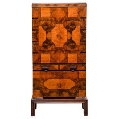 Tall Italian Art Deco Bar Cabinet with Marquetry and Mirrored Interior