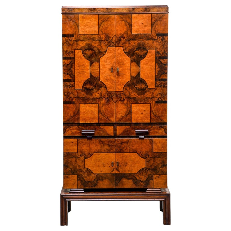 Tall Italian Art Deco Bar Cabinet with Marquetry and Mirrored Interior For Sale