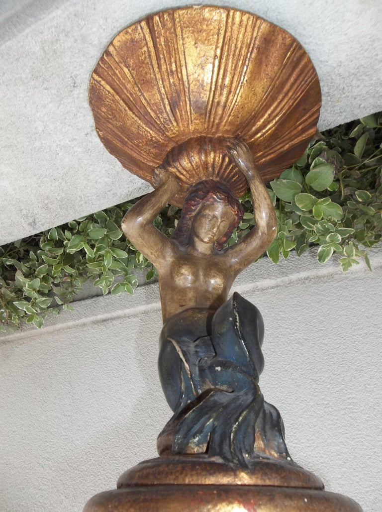 Tall Italian Mermaid Tazza or Centrepiece Compote For Sale 4