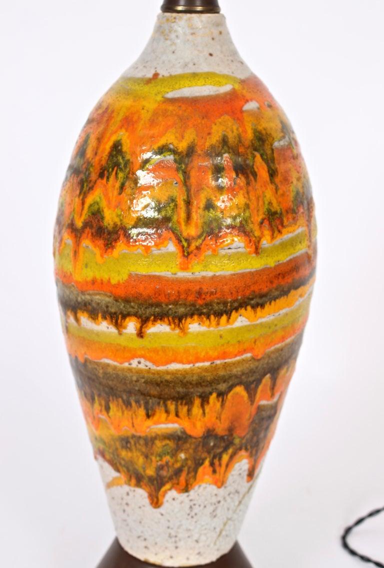 Tall Italian Modern Magma Banded and Drip Glazed Neutral Ceramic Table Lamp In Good Condition For Sale In Bainbridge, NY