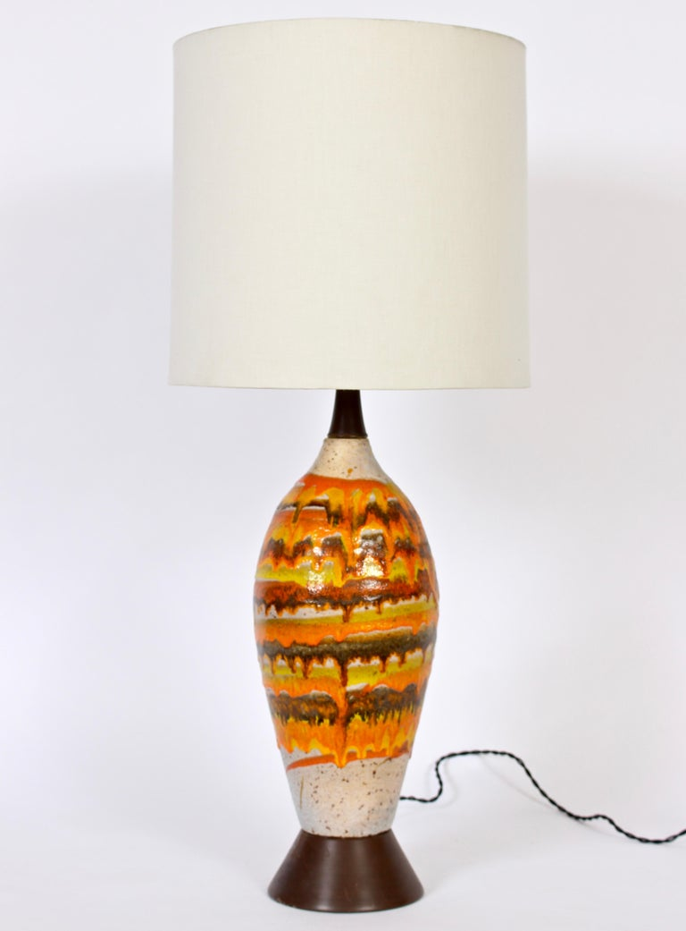 Tall Italian Modern Magma Banded and Drip Glazed Neutral Ceramic Table Lamp For Sale 2
