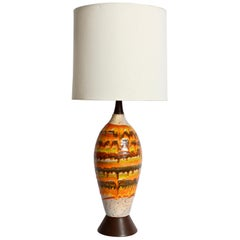 Tall Italian Modern Magma Banded and Drip Glazed Neutral Ceramic Table Lamp