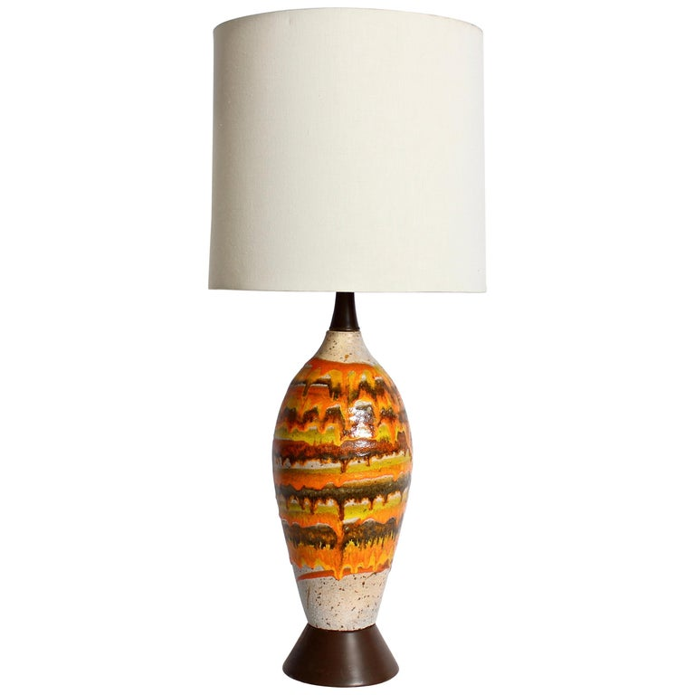 Tall Italian Modern Magma Banded and Drip Glazed Neutral Ceramic Table Lamp For Sale