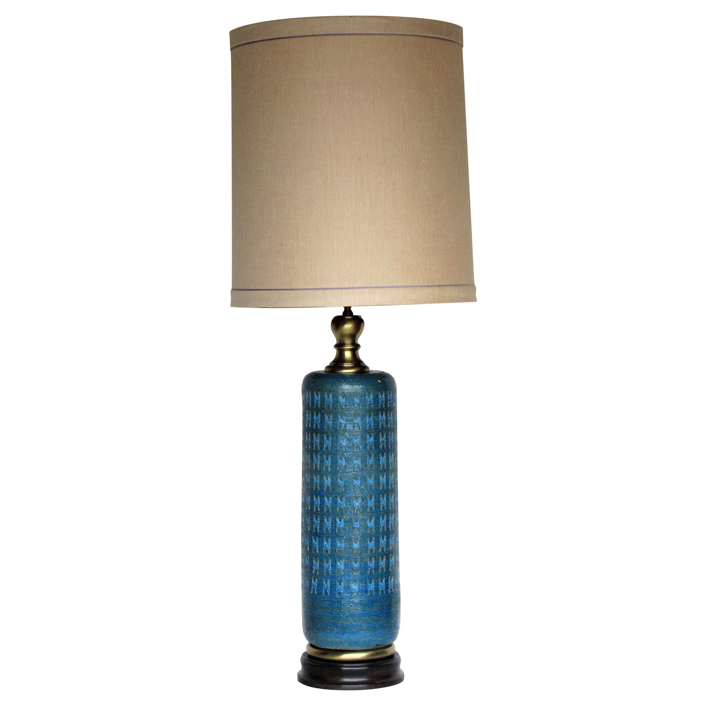 Tall Italian Pottery Rimini Blue Table Lamp - Aldo Londi for Bitossi