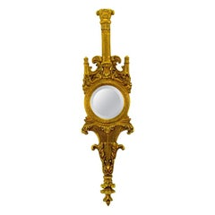 Tall Italian Rococo Gilt Carved Wood & Gesso Wall Mirror