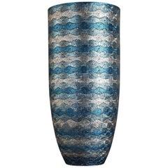 Tall Japanese Contemporary Blue Platinum Gilded Ceramic Vase by Master Artist
