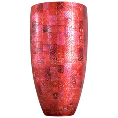 Tall Japanese Contemporary Red Silver Etched Porcelain Vase by Master Artist