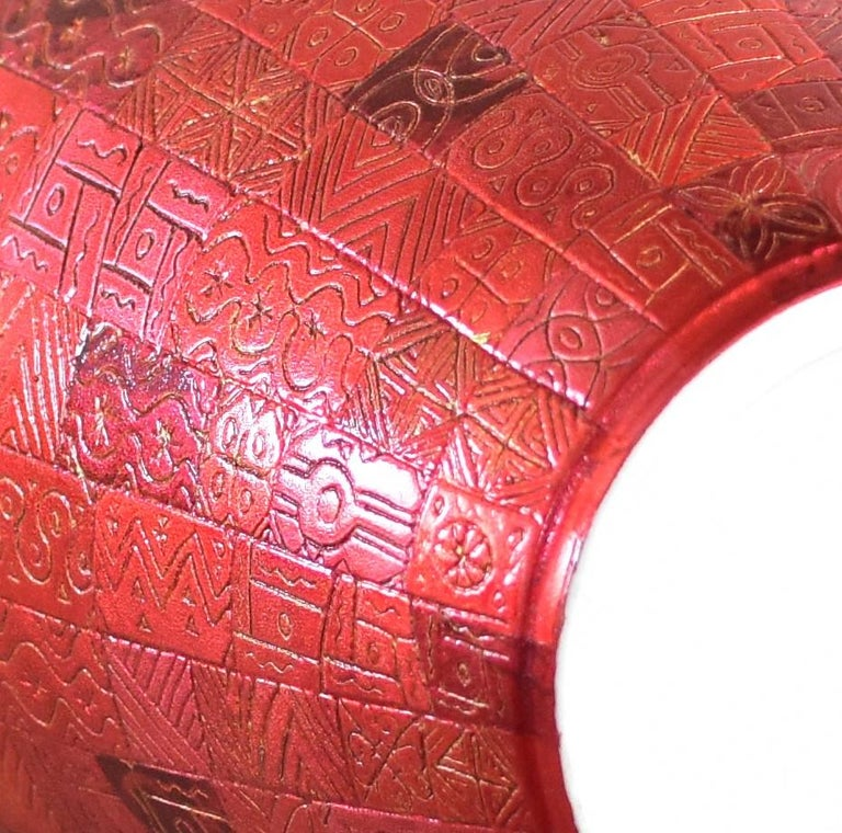 Tall Japanese Contemporary Red Silver Leaf Ceramic Vase by Master Artist For Sale 1