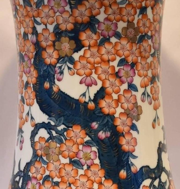 This unique one-of-a-kind contemporary vase, hand-painted on a massive porcelain body with an astonishingly beautiful shape, is a signed masterpiece by Fujii Katsuma, highly acclaimed award-winning Japanese master porcelain artist of the historic