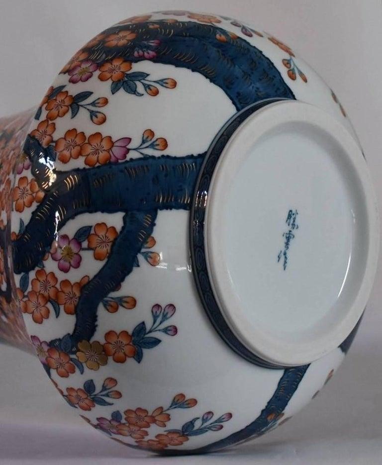 Japanese Hand-Painted Massive Imari Porcelain Vase by Master Artist For Sale 9