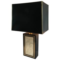 Tall Lacquered Wood Gild and Mother of Pearl Table Lamp, French, circa 1970