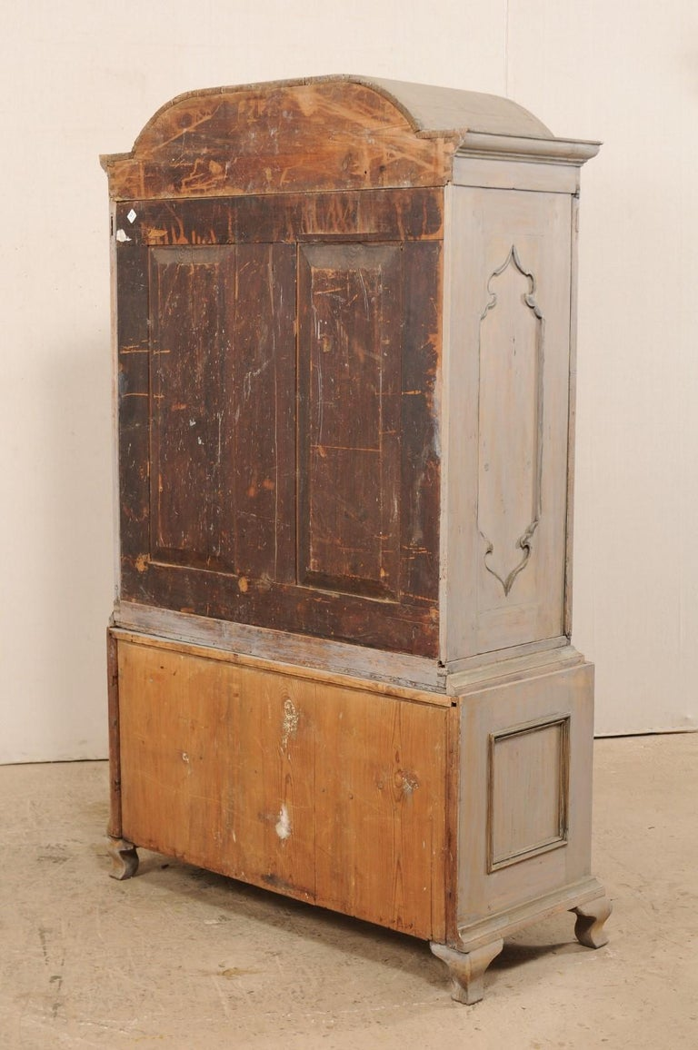 An 18th Century Swedish Period Rococo Tall Painted Woo Cabinet w/Arched Pediment For Sale 5