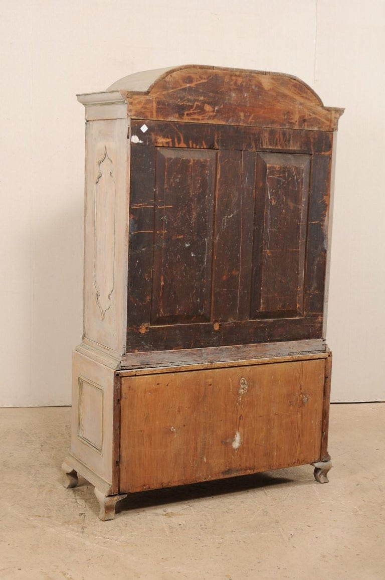 An 18th Century Swedish Period Rococo Tall Painted Woo Cabinet w/Arched Pediment For Sale 6