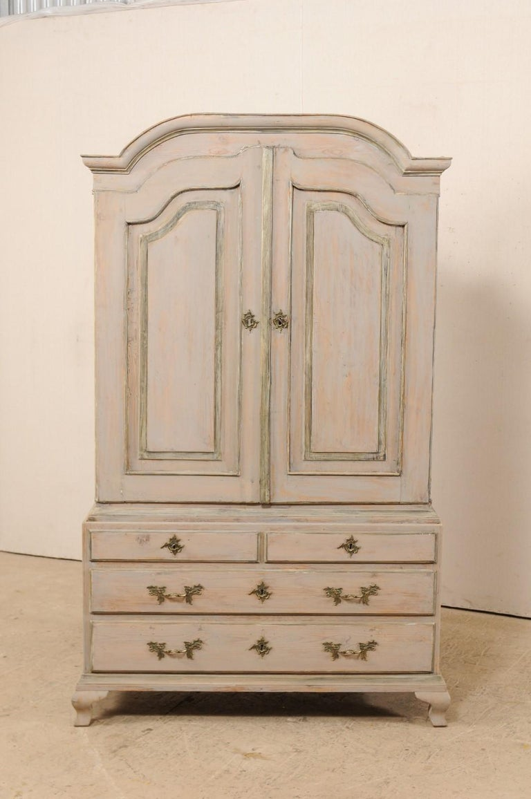 Carved An 18th Century Swedish Period Rococo Tall Painted Woo Cabinet w/Arched Pediment For Sale