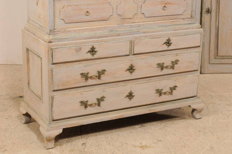 Wood An 18th Century Swedish Period Rococo Tall Painted Woo Cabinet w/Arched Pediment For Sale