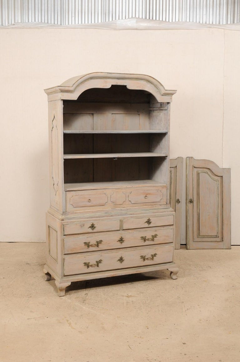 An 18th Century Swedish Period Rococo Tall Painted Woo Cabinet w/Arched Pediment For Sale 1