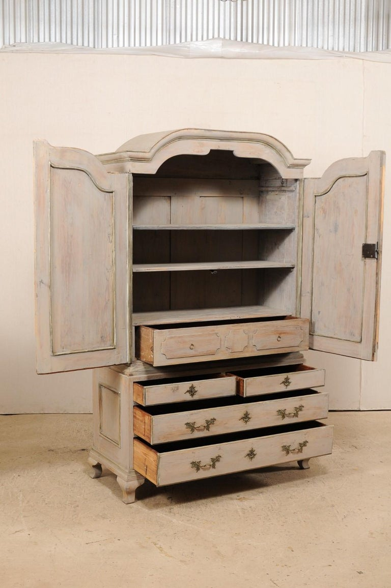 An 18th Century Swedish Period Rococo Tall Painted Woo Cabinet w/Arched Pediment For Sale 2