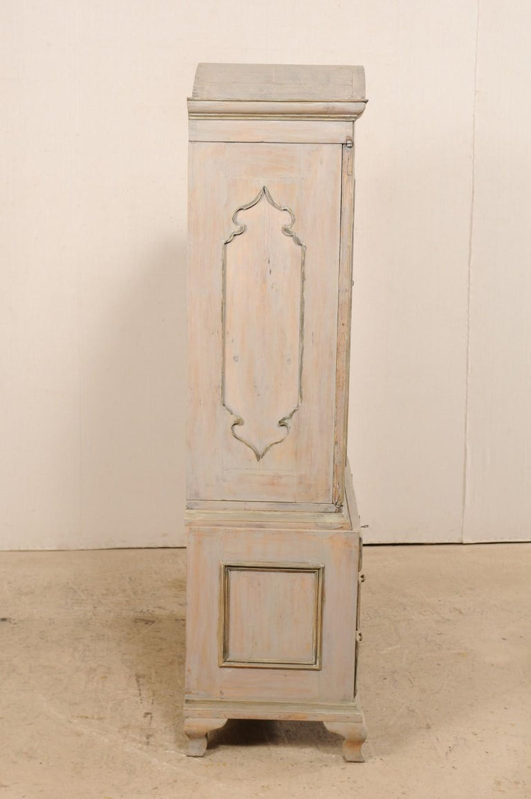 An 18th Century Swedish Period Rococo Tall Painted Woo Cabinet w/Arched Pediment For Sale 3