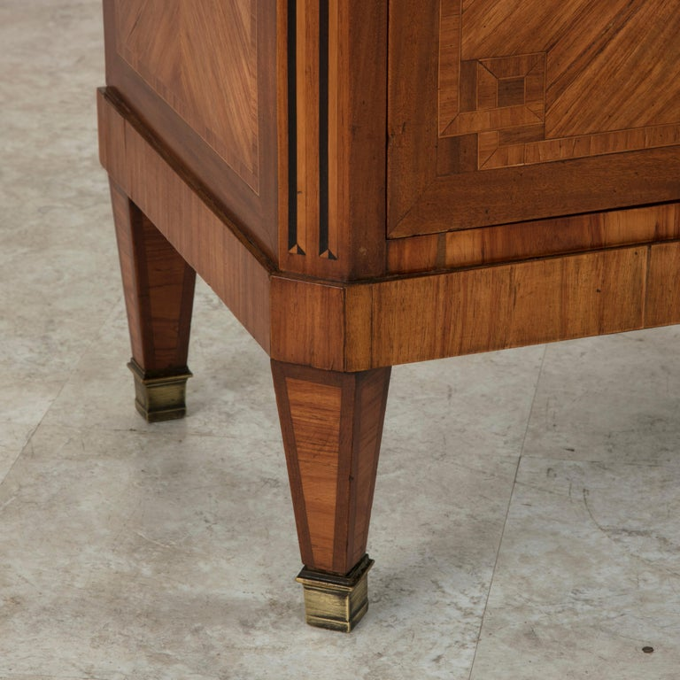 Tall Late 19th Century French Louis XVI Style Rosewood Marquetry Chest, Marble For Sale 5