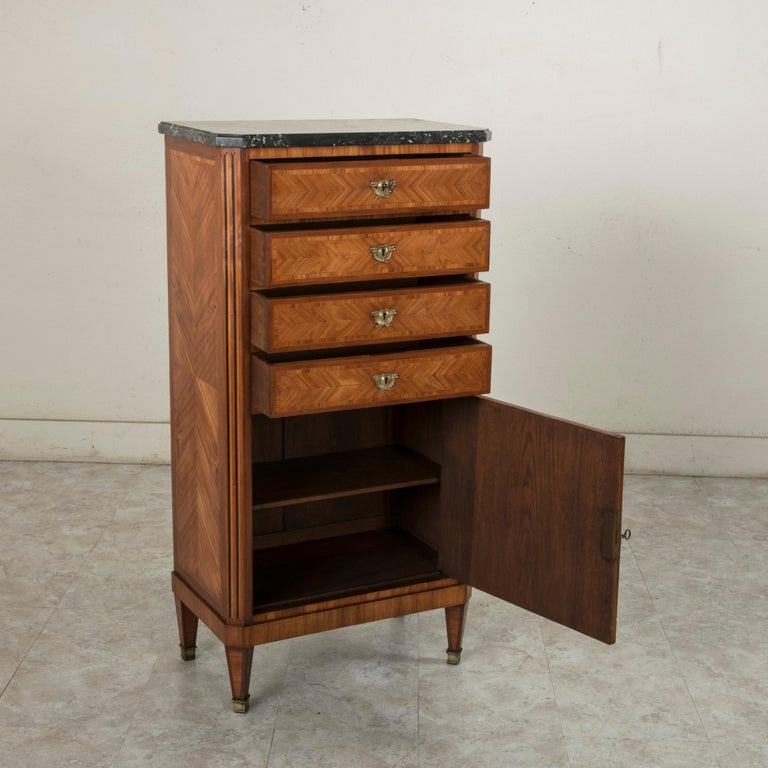 Tall Late 19th Century French Louis XVI Style Rosewood Marquetry Chest, Marble For Sale 7