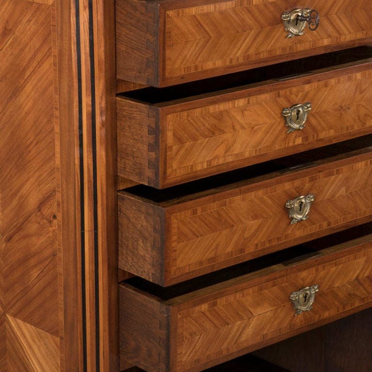 Tall Late 19th Century French Louis XVI Style Rosewood Marquetry Chest, Marble For Sale 8