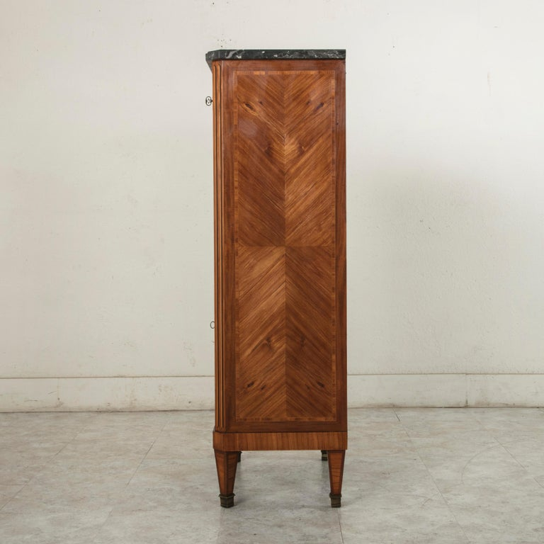 Ebonized Tall Late 19th Century French Louis XVI Style Rosewood Marquetry Chest, Marble For Sale