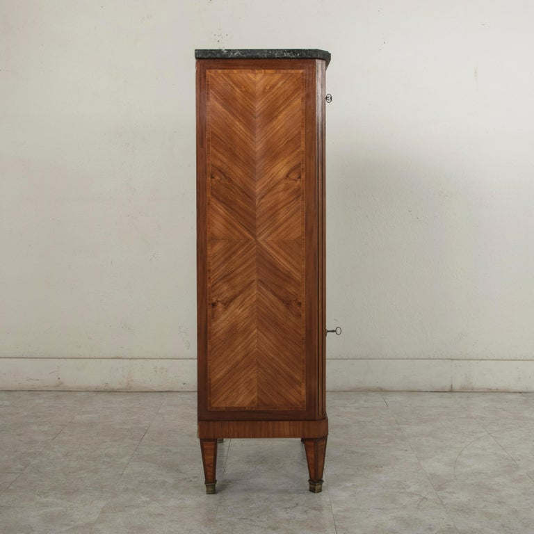 Fruitwood Tall Late 19th Century French Louis XVI Style Rosewood Marquetry Chest, Marble For Sale